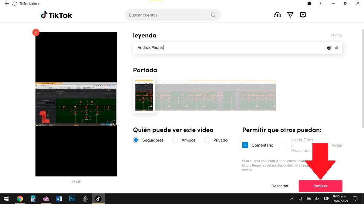 Publicar un video en TikTok desde el PC