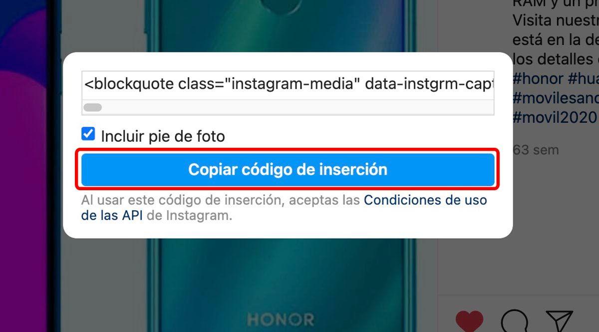 Pulsa botón copiar código de inserción
