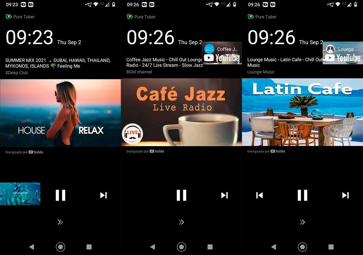 Pure Tuber reproducir musica con la pantalla bloqueada YouTube Premium
