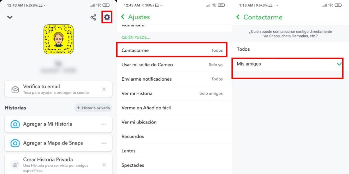 Quienes pueden contactarte en Snapchat