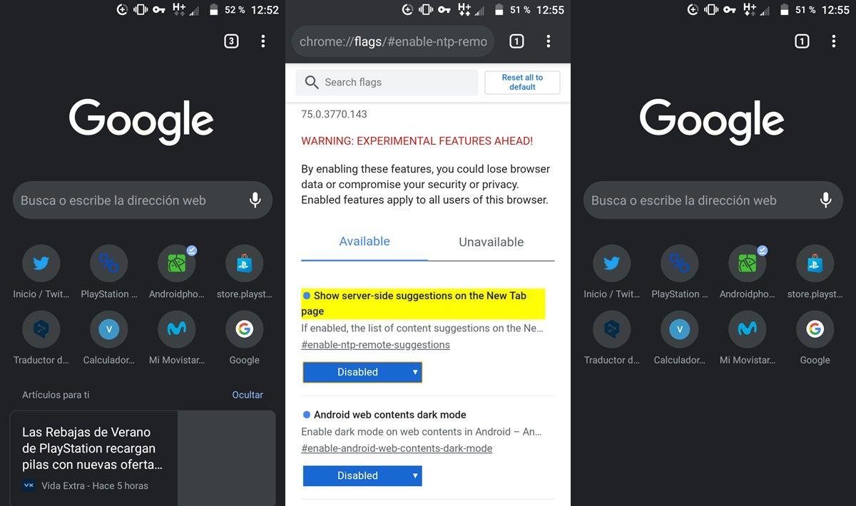 Quitar articulos recomendados chrome android