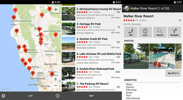 RV Parks y Campgrounds