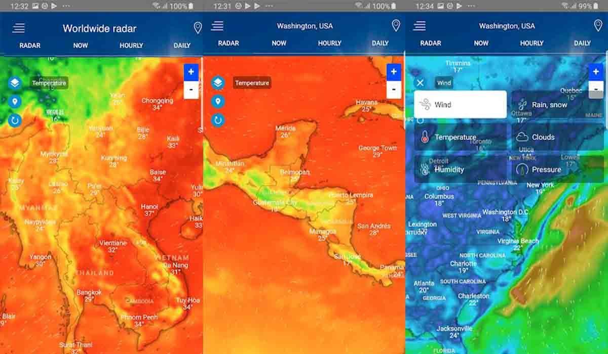 Radar Meteorológico alarma lluvia Android