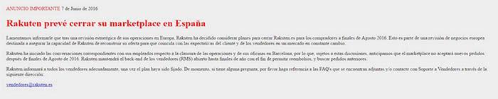 Rakuten cierra en Espana