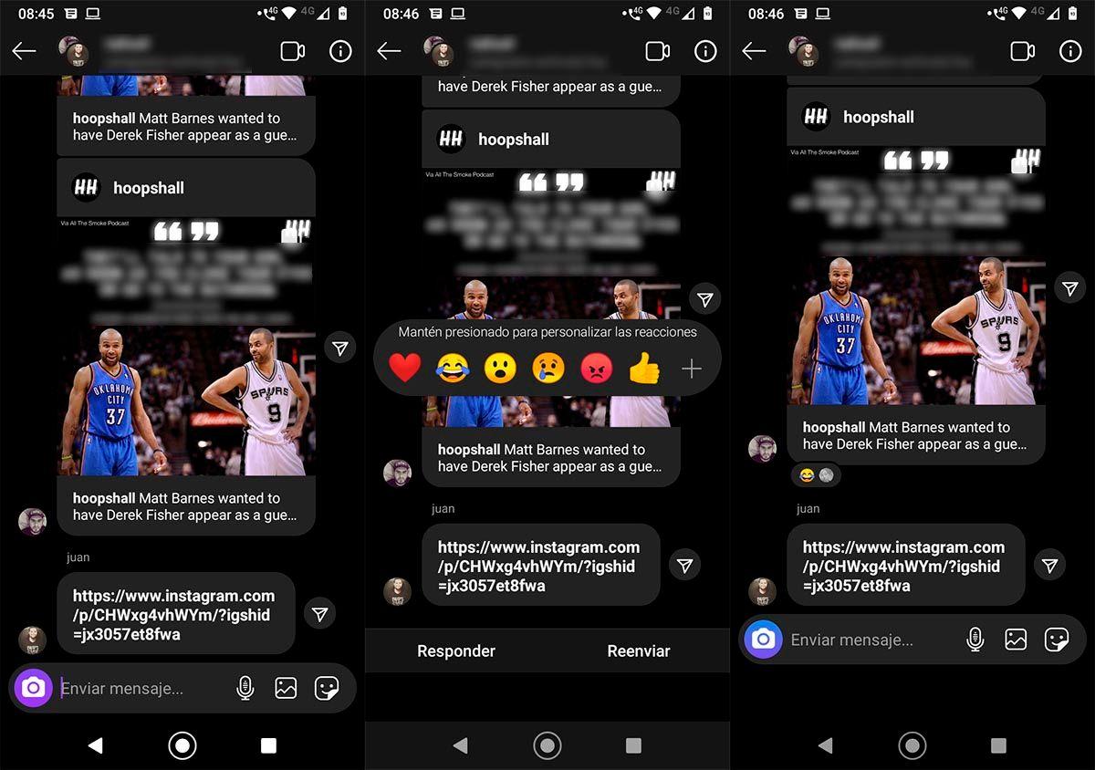Reaccionar mensajes Instagram Direct WhatsApp