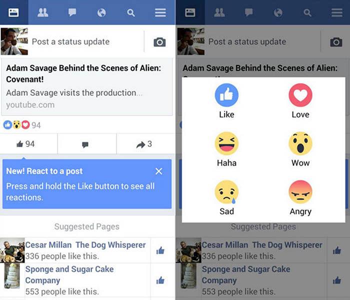 Reacciones Facebook Lite