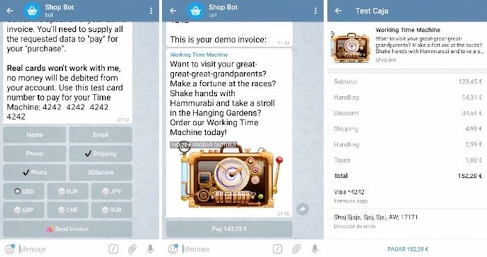 Realizar pagos Telegram