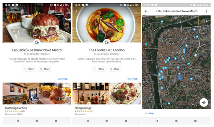 Recomendaciones de restaurantes en Google Maps