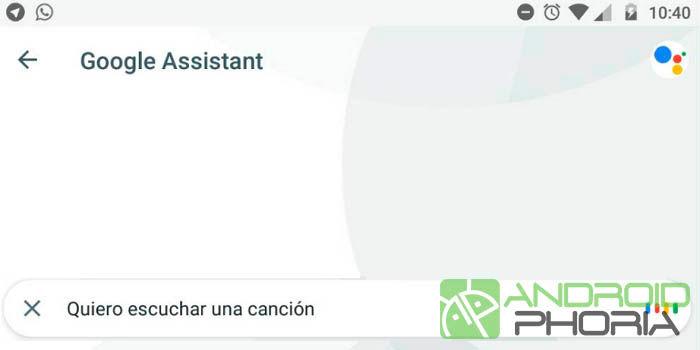 Reconocimiento de canciones en Google Assistant