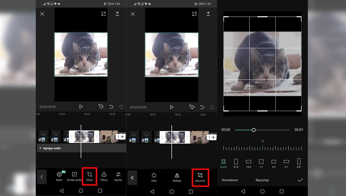 Recortar un vídeo edit con CapCut para subirlo a redes sociales