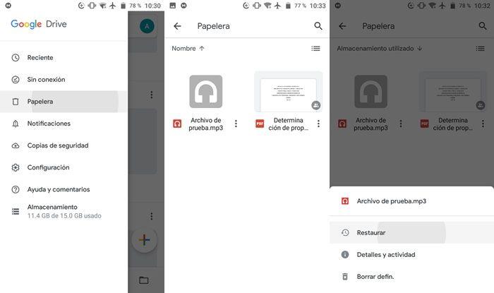 Recuperar archivos borrados de Google Drive