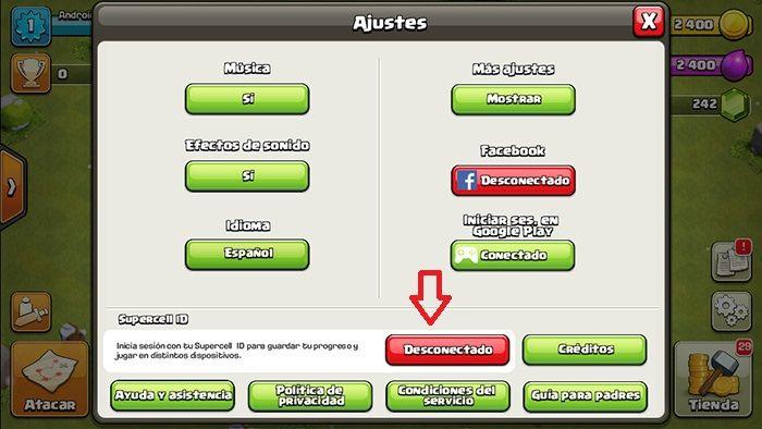Recuperar cuenta Clash of Clans paso 4