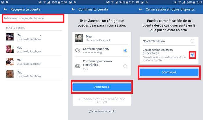 Recuperar cuenta de Facebook Paso 2