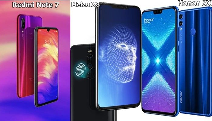 Redmi Note 7 vs Meizu X8 vs Honor 8X diseño
