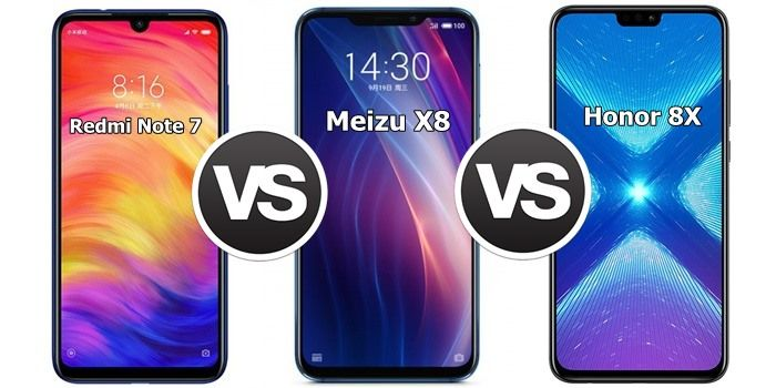 Redmi Note 7 vs Meizu X8 vs Honor 8X