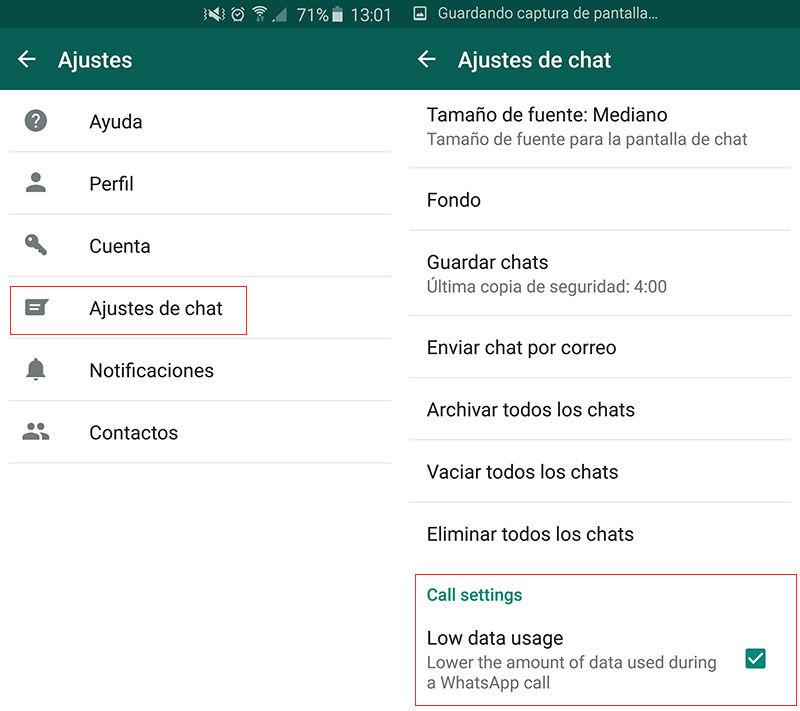 Reducir datos llamadas WhatsApp