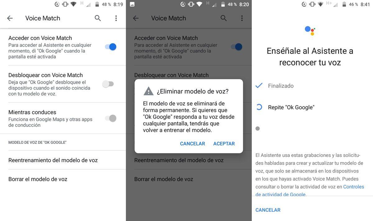 Reentrenar modelo de voz google assistant