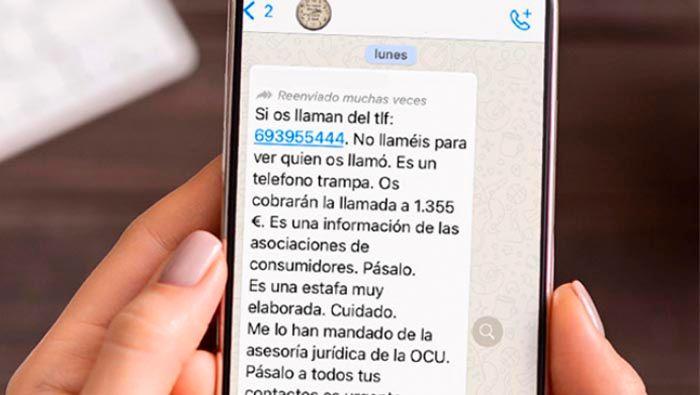 Reenvio de mensajes de bulos y estafas WhatsApp