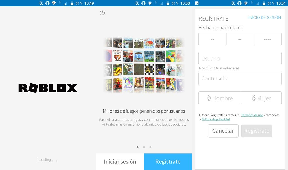 Registrarte en Roblox desde Android