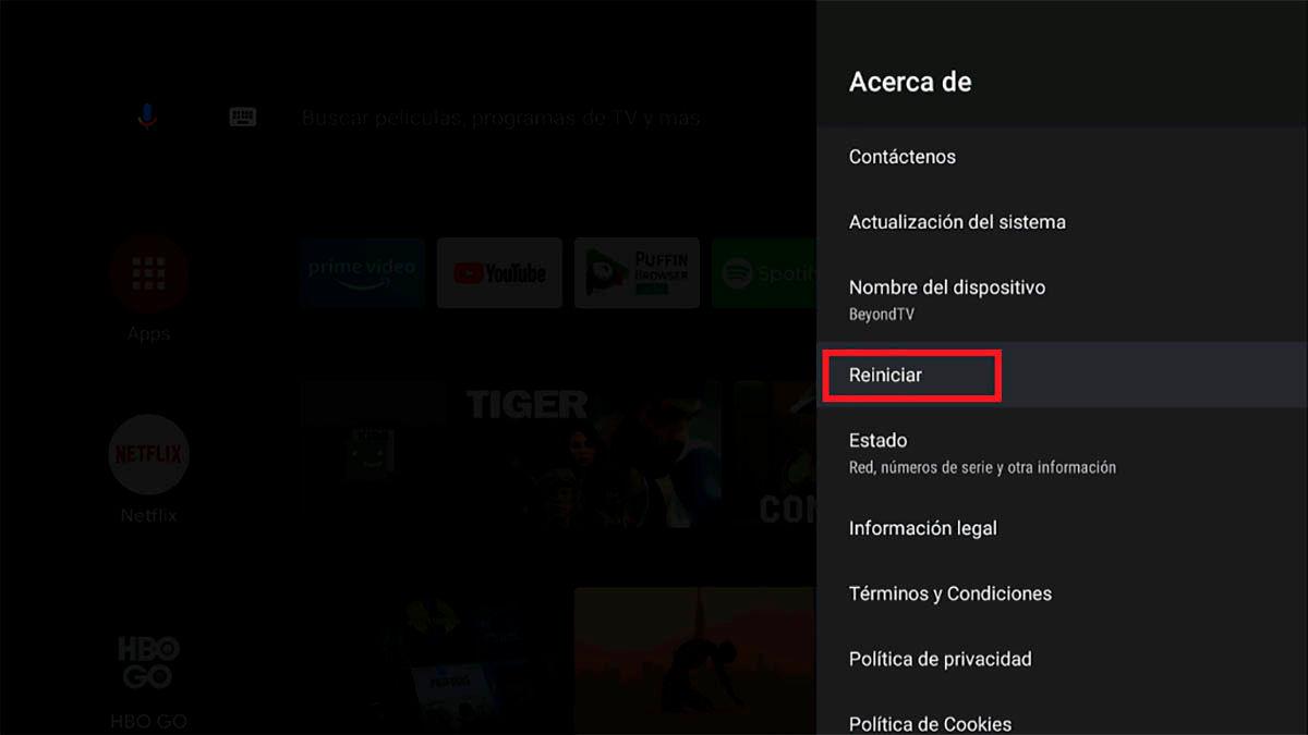 Reiniciar televisor Android TV