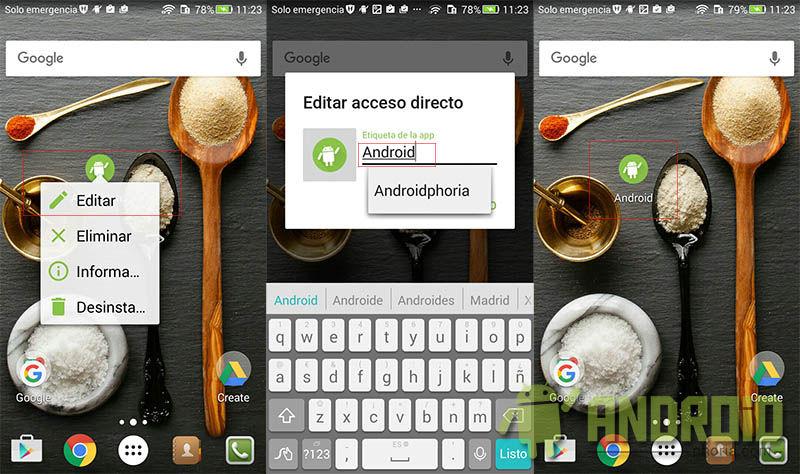 Renombrar acceso directo en Android