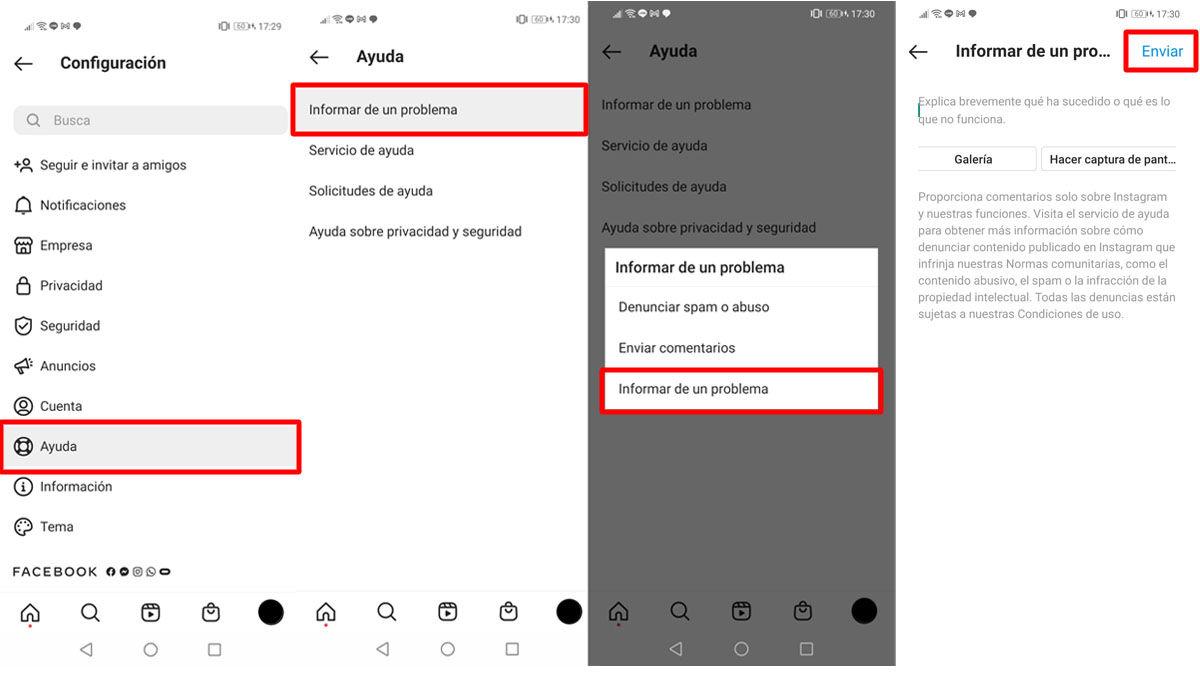 Reportar un problema en Instagram desde la app en Android