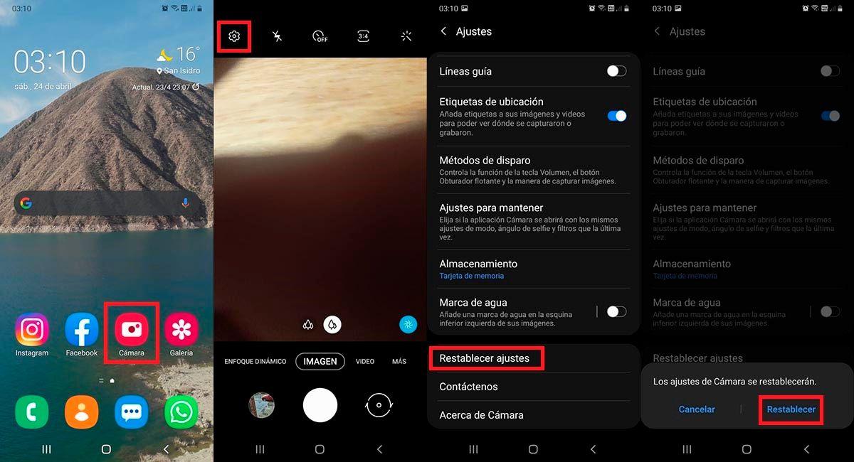 Resetear ajustes camara Samsung Galaxy A71