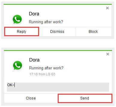 Responder mensajes de WhatsApp en AirDroid