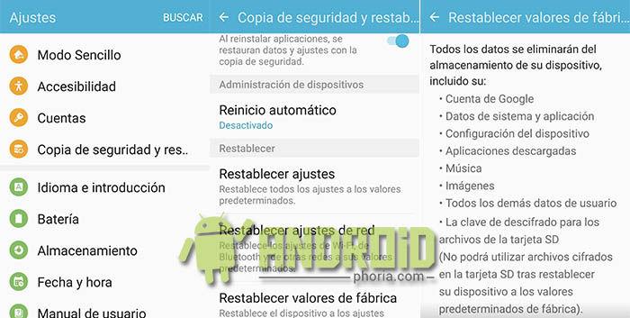 Restablecer Galaxy S7
