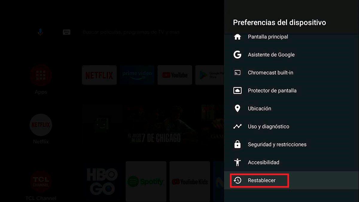 Restablecer de fabrica Android TV