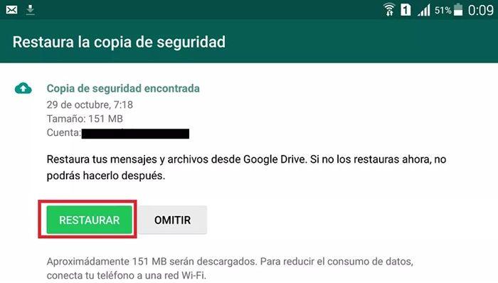 Restaurar copia de seguridad WhatsApp