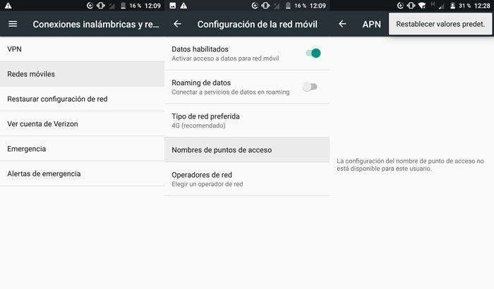 Restaurar valores predeterminados APN android