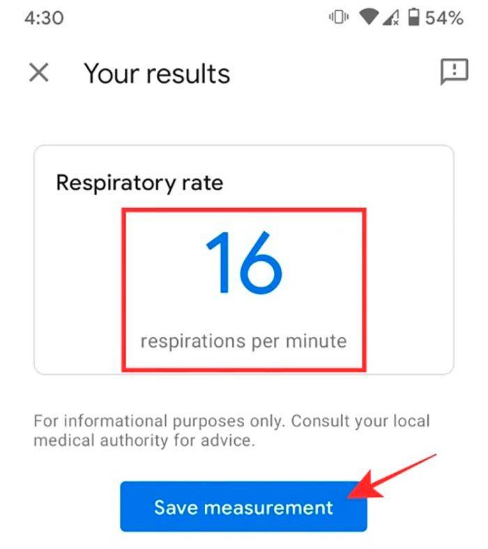 Resultados de frencuencia de respiracion Google Pixel