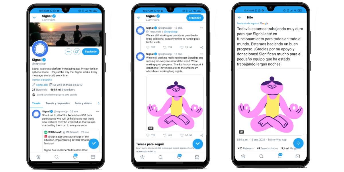 Revisa el estado de Signal en Twitter