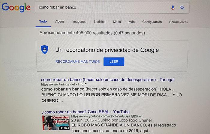 Robar un banco busca Google