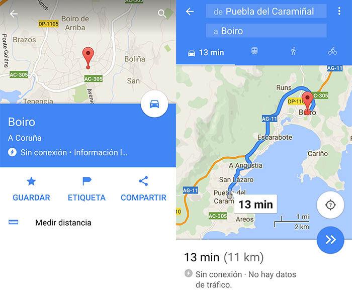 Ruta Google Maps sin Internet