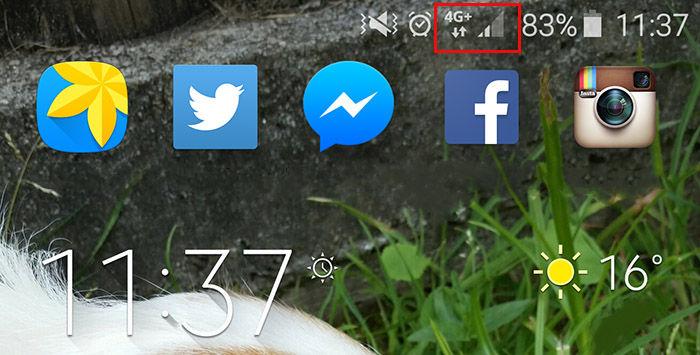 Símbolo cobertura 4G Android