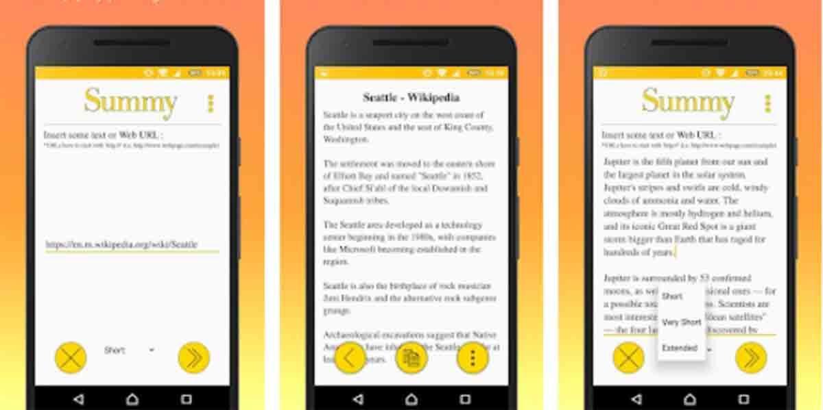 SUMMY app resumir textos móvil
