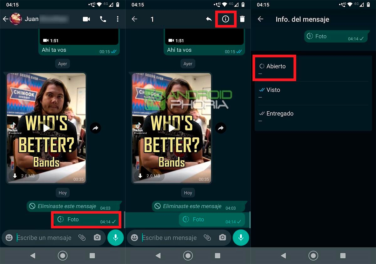Saber si han visto tu foto o video temporal en WhatsApp