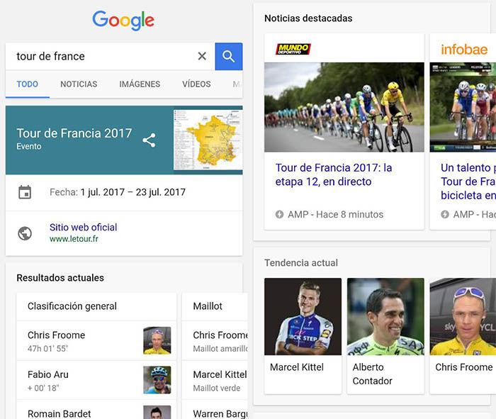 Seguir Tour 2017 con Google