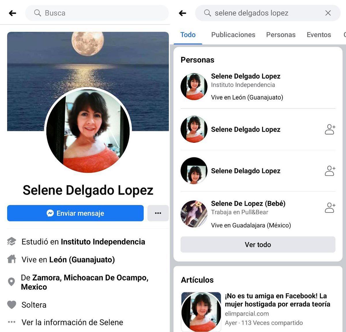 Selene Delgado en Facebook