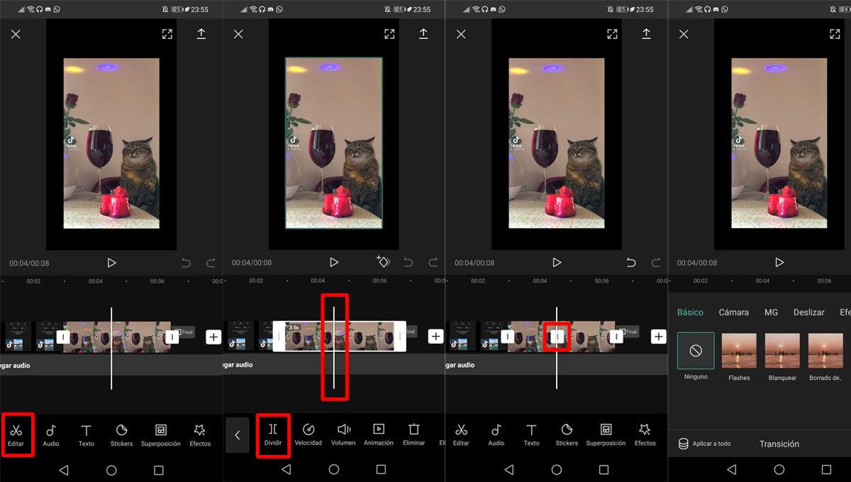 Separar vídeos y añadir transiciones a los vídeo edits de CapCut