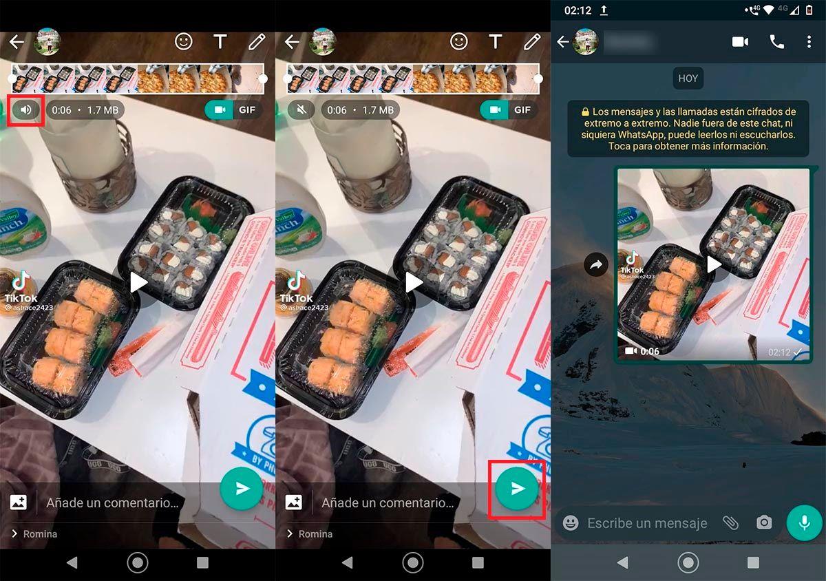 Silenciar vídeo de WhatsApp antes de enviarlo