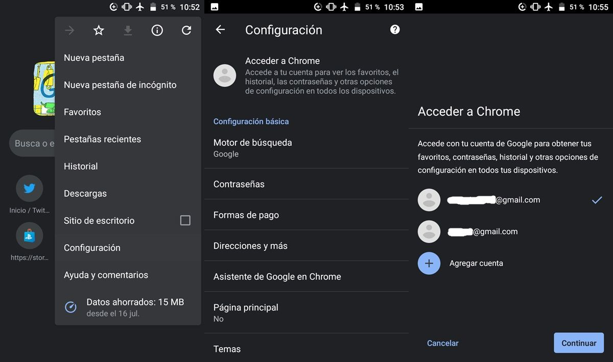 Sincronizar Chrome movil Android