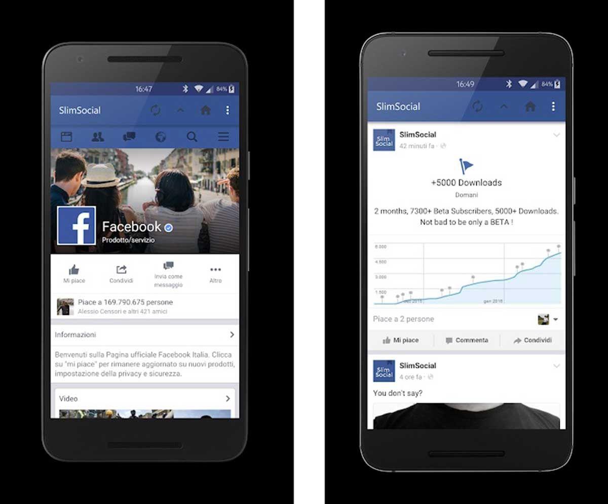 SlimSocial app no oficial para usar Facebook