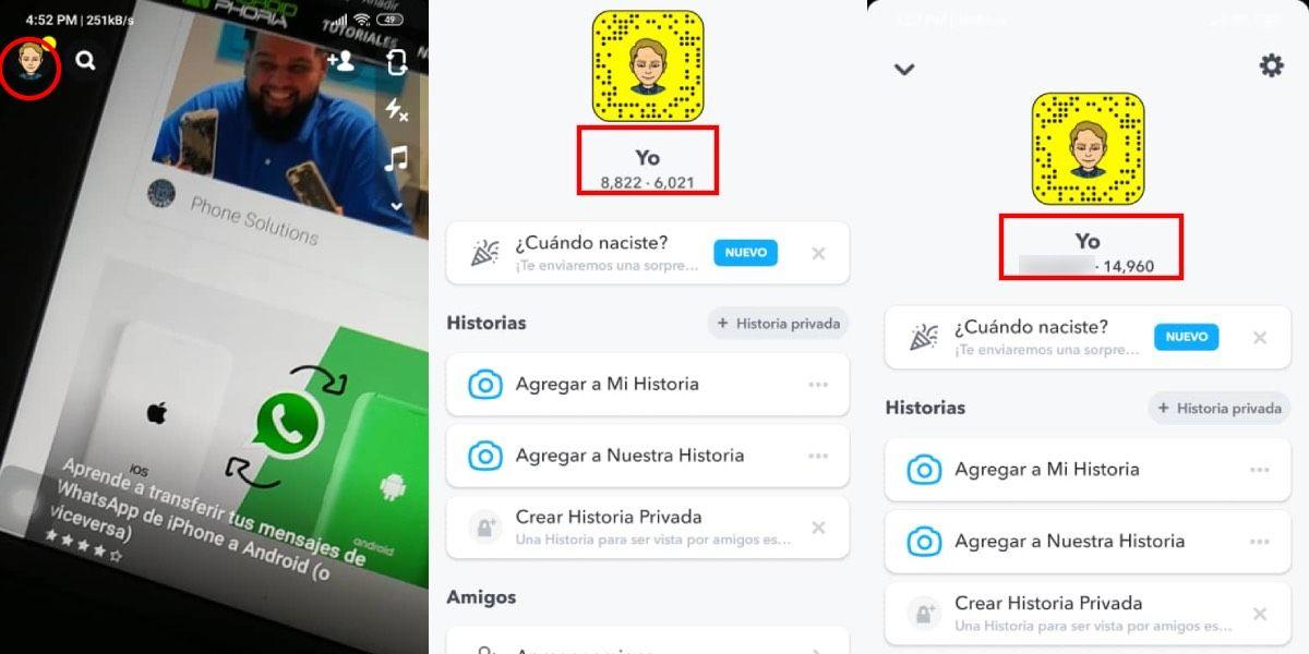 Snap score de Snapchat