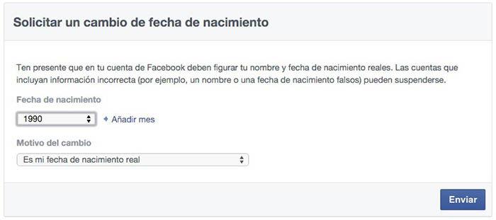 Solicitar cambio fecha nacimiento Facebook