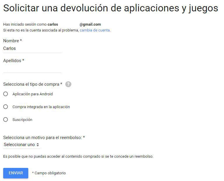 Solicitar un reembolso en Google Play