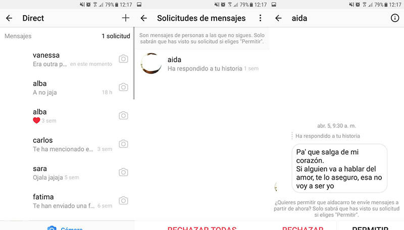 Solicitud de mensaje en Instagram