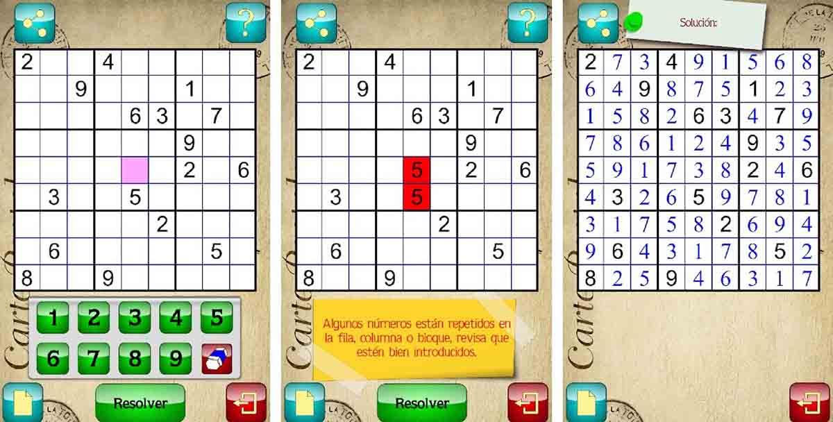 Solucionador Sudokus app para resolver Sudoku en Android